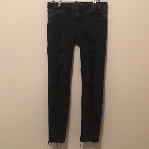 Forever 21 distressed/ripped raw hem black jeans